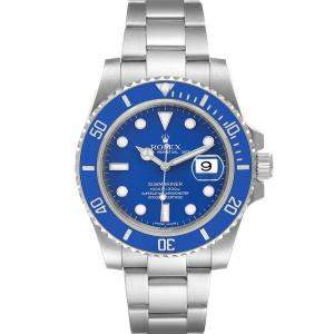 Rolex Blue 18K White Gold And Stainless Steel Submariner 116619 Men's Wristwatch 40 MM