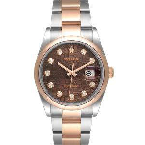Rolex Brown Diamonds 18K Rose Gold And Stainless Steel Datejust 126201 Men's Wristwatch 36 MM