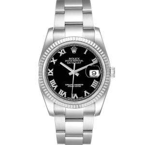 Rolex Black 18K White Gold And Stainless Steel Datejust 116234 Men's Wristwatch 36 MM