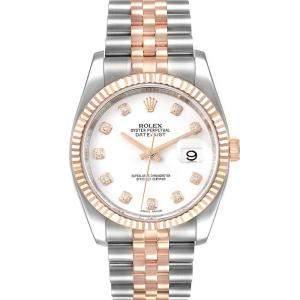 Rolex White Diamonds 18K Rose Gold Datejust 116231 Men's Wristwatch 36 MM