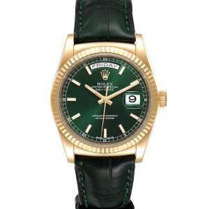 Rolex Green 18K Yellow Gold President Day-Date 118138 Men's Wristwatch 36 MM