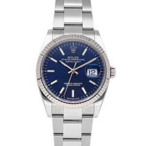Rolex Blue Stainless Steel Datejust 126234 Men's Wristwatch 36 MM