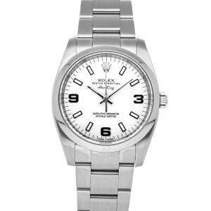 Rolex White Stainless Steel Air-King 114200 Men's Wristwatch 34 MM