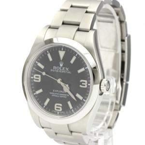 Rolex Black Stainless Steel Explorer I Automatic Men's Wristwatch 39 MM