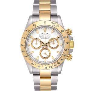 Rolex White 18K Yellow Gold And Stainless Steel Daytona 116523 Men's Wristwatch 40 MM