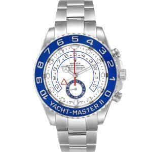 Rolex White Stainless Steel Yachtmaster II 116680 Men's Wristwatch 44 MM