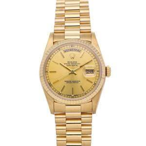 Rolex Champagne 18K Yellow Gold Day-Date President 18238 Men's Wristwatch 36 MM