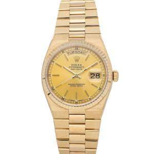 Rolex Champagne 18K Yellow Gold Oysterquartz Day Date 19018 Men's Wristwatch 36 MM
