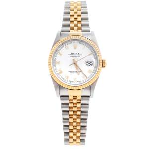 Rolex White 18K Yellow Gold & Stainless Steel Datejust 16233 Automatic Unisex Wristwatch 35 mm