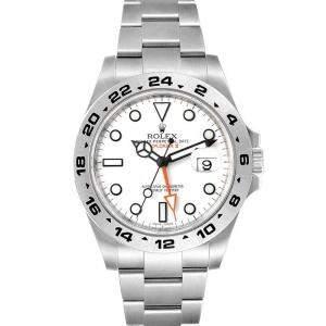 ساعة يد رجالية رولكس أكسبلورر II 216570 ستانلس ستيل بيضاء 42مم