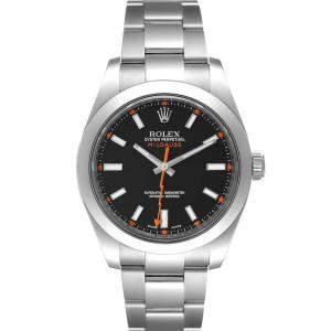 Rolex Black Stainless Steel Milgauss 116400 Men's Wristwatch 40 MM