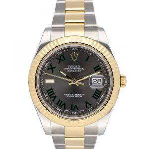 Rolex Grey 18K Yellow Gold And Stainless Steel Datejust 116333 Men's Wristwatch 41 MM