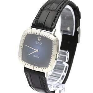 Rolex Blue 18K White Gold Vintage Cellini 4084 Men's Wristwatch 30 MM
