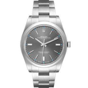 Rolex Grey Stainless Steel Oyster Perpetual 114300 Men's Wristwatch 39 MM