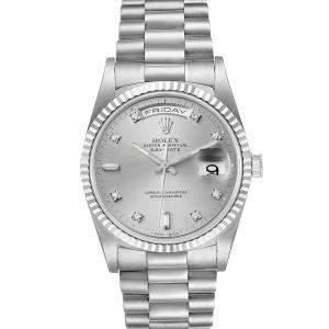 ساعة يد رجالية رولكس بريزيدنت داي ديت 118239 ذهب أبيض عيار 18 ألماس فضية 36مم