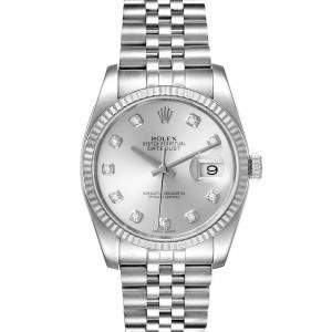 Rolex Silver Diamonds White Gold And Stainless Steel Datejust 116234 Men's Wristwatch 36 MM