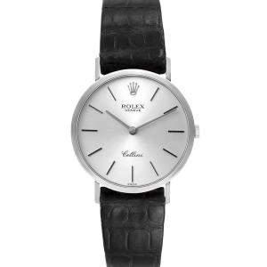 Rolex Silver 18k White Gold Cellini Classic 4112 Men's Wristwatch 32 MM