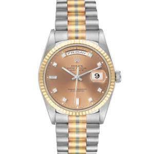 Rolex Brown Diamonds 18K White Yellow Rose Gold President Day-Date Tridor 18239 Men's Wristwatch 36 MM