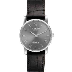 Rolex Grey 18k White Gold Cellini Classic 5116 Men's Wristwatch 32 MM