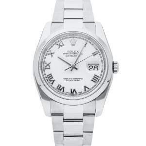 Rolex White Stainless Steel Datejust 116200 Men's Wristwatch 36 MM