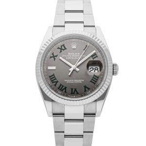 ساعة يد رجالية رولكس ديت جست 126234  ستانلس ستيل رصاصية 36مم