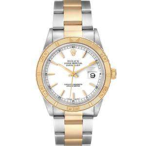Rolex White 18K Yellow Gold And Stainless Steel Datejust Turnograph 16263 Men's Wristwatch 36 MM