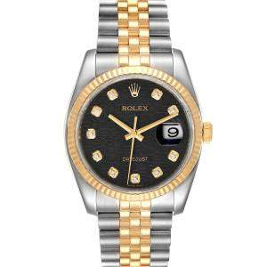Rolex Black Diamonds 18k Yellow Gold And Stainless Steel Datejust 116233 Men's Wristwatch 36 MM
