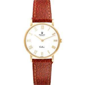 Rolex White 18K Yellow Gold Cellini Classic 5112 Men's Wristwatch 32 MM