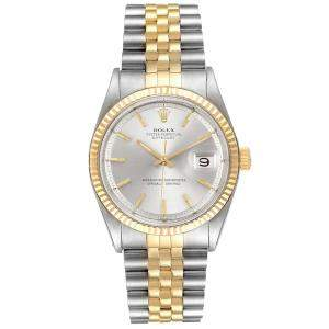 Rolex Grey 18K Yellow Gold And Stainless Steel Datejust Vintage 1601 Men's Wristwatch 36 MM