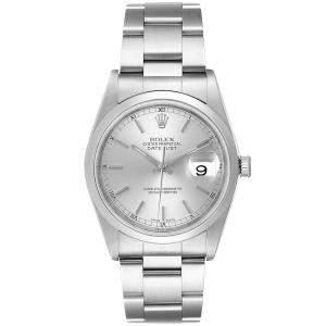 Rolex Silver Stainless Steel Datejust 16200 Men's Wristwatch 36 MM