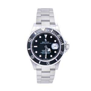 Rolex Black Stainless Steel Submariner 16610 Automatic Men's Wristwatch 40 mm