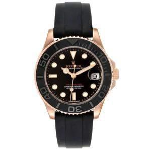 Rolex Black 18K Rose Gold Yachtmaster 268655 Men's Wristwatch 37 MM