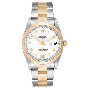 Rolex White 18K Yellow Gold And Stainless Steel Oyster Perpetual Date 15203 Men's Wristwatch 34 MM