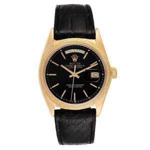ساعة يد رجالية رولكس بريزدنت داي-تيت 1807 ذهب أصفر عيار 18 أسود 36 مم