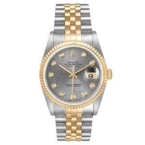 ساعة يد رجالية رولكس ديتجاست 16233 ستانلس ستيل وذهب أصفر عيار 18 ألماس رمادي 36 مم