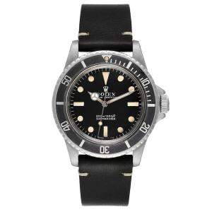 Rolex Black Stainless Steel Submariner Vintage 5513 Men's Wristwatch 40 MM