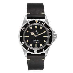 Rolex Black Stainless Steel Submariner Vintage 5512 Men's Wristwatch 40 MM