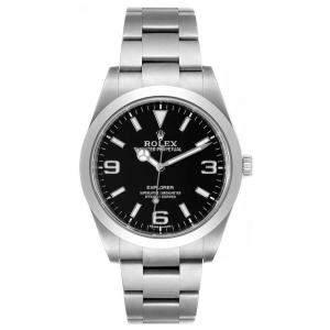 Rolex Black Stainless Steel Explorer 214270 Men's Wristwatch 39 MM
