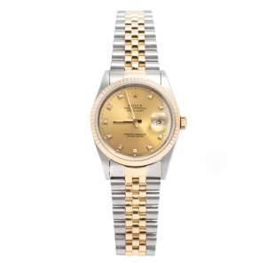 ساعة يد رجالية رولكس ديتجست 16233 الماس ستانلس ستيل ذهب أصفر عيار 18 شامبين 36 مم