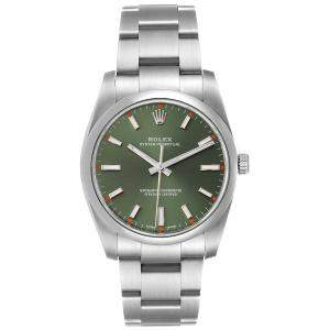 Rolex Olive Green Stainless Steel Oyster Perpetual 114200 Men's Wristwatch 34 MM