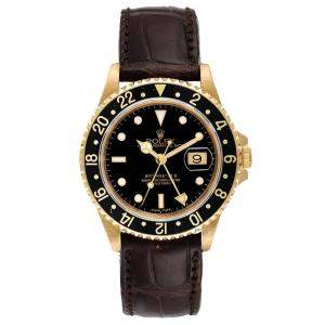Rolex Black 18K Yellow Gold GMT Master II 16718 Men's Wristwatch 40 MM