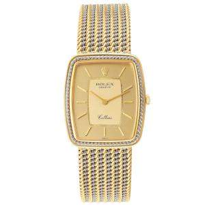 Rolex Champagne 18k Yellow And White Gold Cellini 4340 Men's Wristwatch 24 MM
