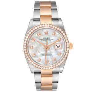 Rolex Silver Diamonds 18k Rose Gold And Stainless Steel Datejust 126281 Men's Wristwatch 36 MM