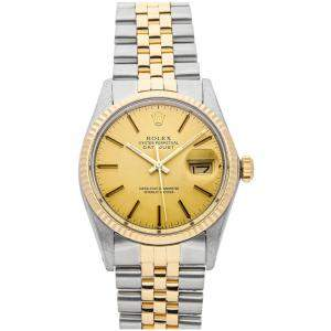 Rolex Champagne 18K Yellow And Stainless Steel Datejust 16013 Men's Wristwatch 36 MM