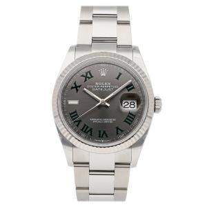 Rolex Grey 18K White Gold And Stainless Steel Datejust 126234 Men's Wristwatch 36 MM