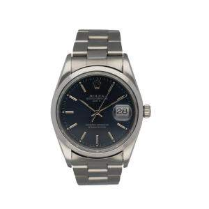 Rolex Blue Stainless Steel Oyster Perpetual Date 15200 Men's Wristwatch 34 MM