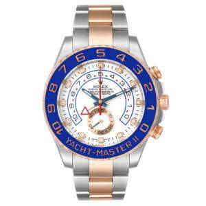 Rolex White 18K Rose Gold And Stainless Steel Yachtmaster II 116681 Men's Wristwatch 44 MM