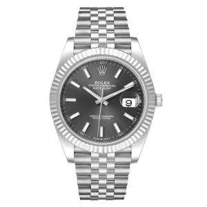 Rolex Grey 18K White Gold And Stainless Steel Datejust 126334 Men's Wristwatch 41 MM