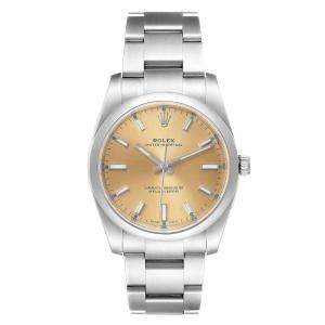 Rolex White Grape Stainless Steel Oyster Perpetual 114200 Men's Wristwatch 34 MM