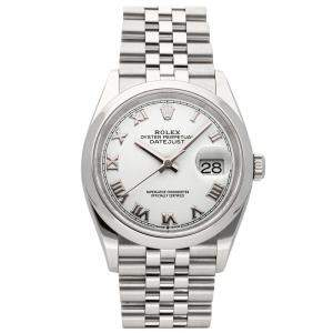 Rolex White Stainless Steel Datejust 126200 Men's Wristwatch 36 MM